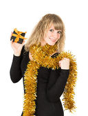Frau holding geschenk-box — Stockfoto