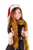 Frau mit hut santa claus — Stockfoto