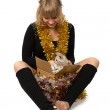 Woman with cat and gift — Stock Photo