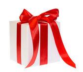 White  box gift ribbon bow — Stock Photo