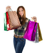 Mulher com pacotes — Foto Stock