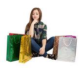 Femme avec des paquets — Photo