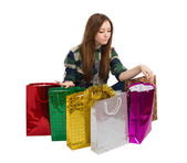 Woman with gifts Packages — Foto de Stock
