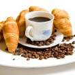 Stock Photo: Croissant with coffee