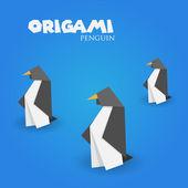 Origami penguin — Stock Vector