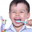 Boy brushing his teeth — Stock Photo