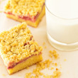 Stock Photo: Strawberry crumb cake with glass of milk