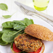 Vegan burger with spinach — Stock Photo