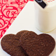 Chocolate heart-shaped cookies for Valentine's day — Stock Photo