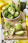 Brussels sprouts on a cutting board — Stock Photo