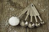Salt in a measuring spoon — Stock Photo
