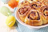 Sweet rolls with dried fruits for easter — Stock Photo