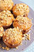 Muffins de plátano con nueces y chocolate blanco — Foto de Stock