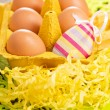 Easter eggs with one decorative — Stock Photo