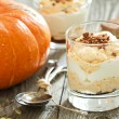 Pumpkin Cheesecake in a glass — Stock Photo