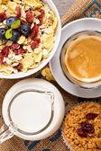 Breakfast with granola — Stock Photo