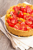 Savoury cheesecake with tomatoes — Stock Photo