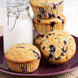 Stock Photo: Healthy blueberry bananmuffins