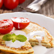 Savory pancakes with tomatoes — Stock Photo #39251457