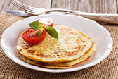 Savory pancakes with tomatoes — Stock Photo