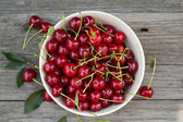 Fresh sour cherry in a bowl — Stock Photo