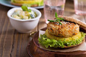 Vegan burgers with beans and vegetables — Stock Photo