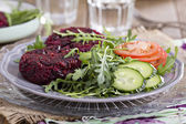 Vegan burgers with beetroot and beans — Stock Photo
