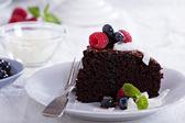 素食巧克力蛋糕 — 图库照片