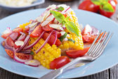 Salad with baked corn — Stock Photo