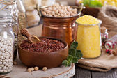 Variety of grains and beans — Stock Photo