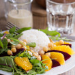 Постер, плакат: Salad with beet chickpeas rice and greens