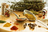 Variety of spices and herb on a wooden board — Stock Photo