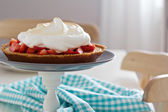 Lemon strawberry meringue pie — Stock Photo