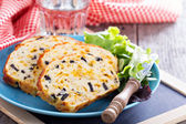 Savory cheese loaf with olives — Stock Photo