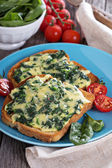 Spinach and cheese sandwich — Stock Photo