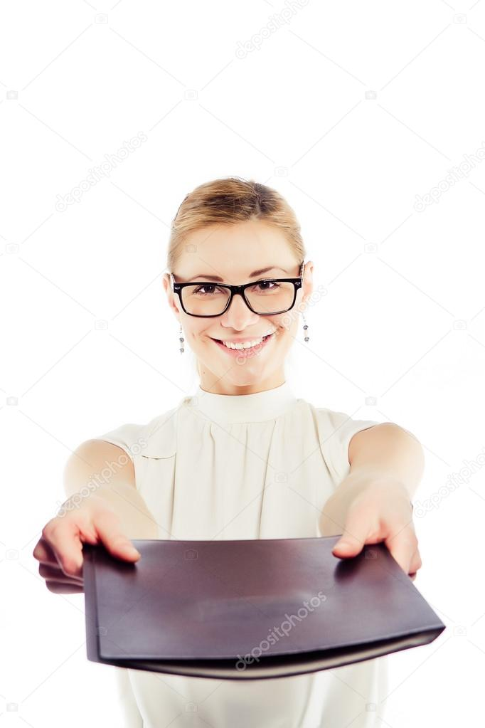 Happy smiling business woman holding a folder — Stock Photo #12781763