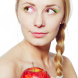 Woman with red apple — Stock Photo #12874734