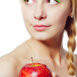 Woman with red apple - Stock Photo