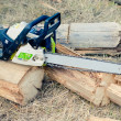 Close up chain saw on log - Stock Photo