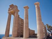 Ancient temple of Apollo at Lindos, Rhodes island, Greece — Stock Photo