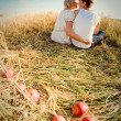 Image of young man and woman on wheat field — Stock Photo #18612101