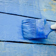 Hand painting blue wooden wall — Foto Stock