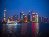 Shanghai Skyline at night — 图库照片