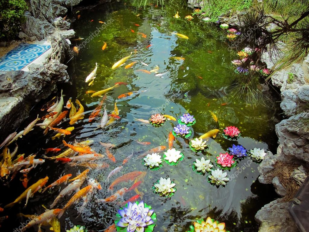 Carp pond colorful artificial water lillies jade buddha for Artificial pond water