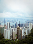 Skyline of Hong Kong City from the Peak — Foto de Stock
