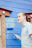 Man with painting tool — Stock Photo