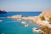 Greek islands - Rhodes, Lindos bay — Stock Photo