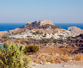 View of the town of Lindos, Rhodes Island, Greece — Stock Photo