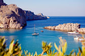 Greek islands - Rhodes, Lindos bay — Zdjęcie stockowe