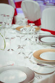 Table set for an event party or wedding reception — 图库照片